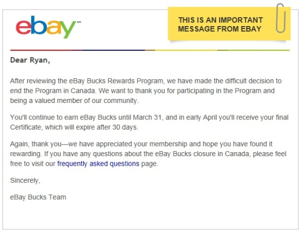 Message from ebay re Bucks Program